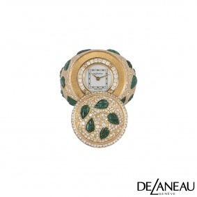 DeLaneau Rose Gold Mother of Pearl, Diamond & Emerald Ring Watch